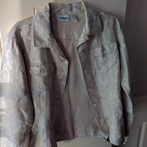 Chico's Jacquard Print Cream Jacket Size 2